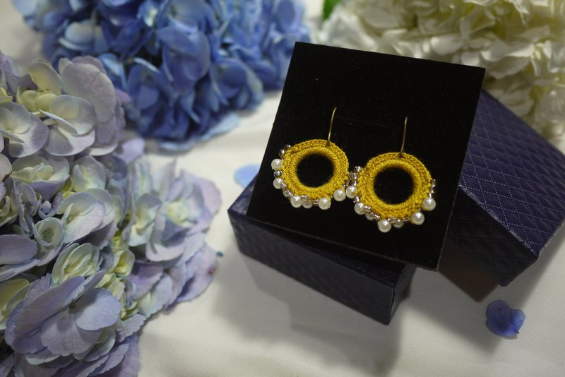 Yellow Mustard Circle round earring crochet handmade/pair
