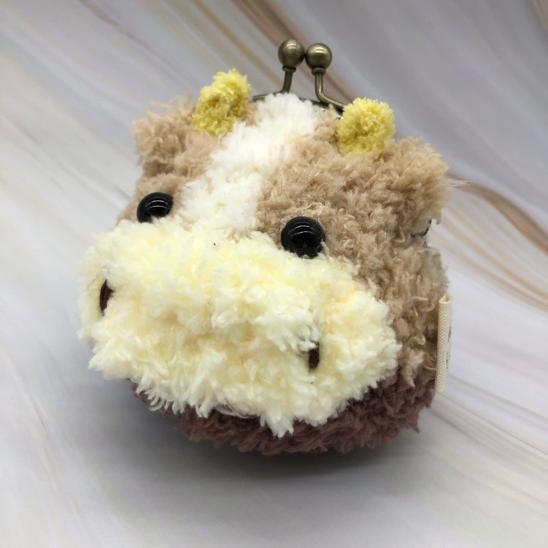 Chocolate cow - wool woven animal coin purse gold bag two sizes