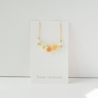 Elegant Orange and Yellow Silk Flowers custom 16KGP Chain Bracelet