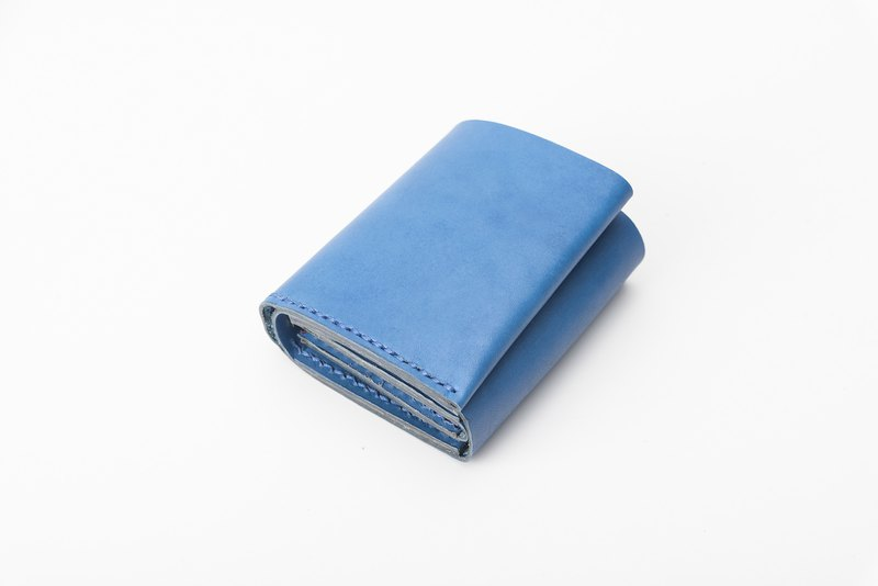 Containment Handmade Leather Storage Zipper Short Clip Multifunction Wallet Sapphire Blue