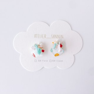 Sweet Planet Series - Bubble Gum Satellite White Hand-painted Hand Sewn Handmade Earrings Ear/Ear clip