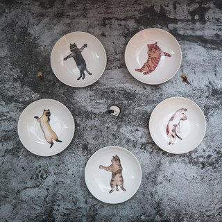 4-inch porcelain plate-5 drunk fist meow / cat / drunk fist / healing / microwave / through the SGS