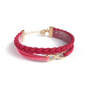 Handmade Double Braided Infinity Bracelets Rose Gold Series-rose red limited