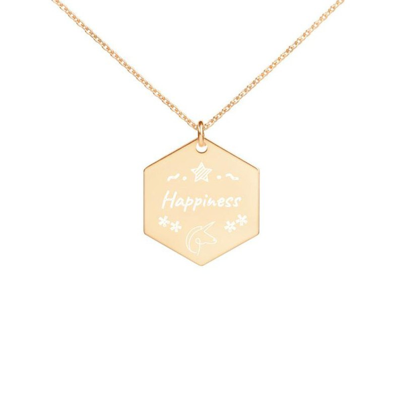 Happiness Engraved Silver Hexagon Necklace
