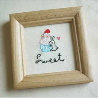 """Forest embroidery"" mini embroidery painting - Sweet rabbit lady dessert"