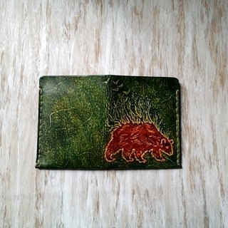 [Kaka & sun] vertical leather wallet Handmade leather wallet - Bear Forest