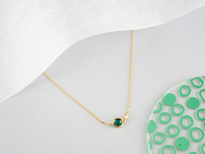 Edith & Jaz • Birthstone with CZ Collection - Emerald Quartz Necklace (May)