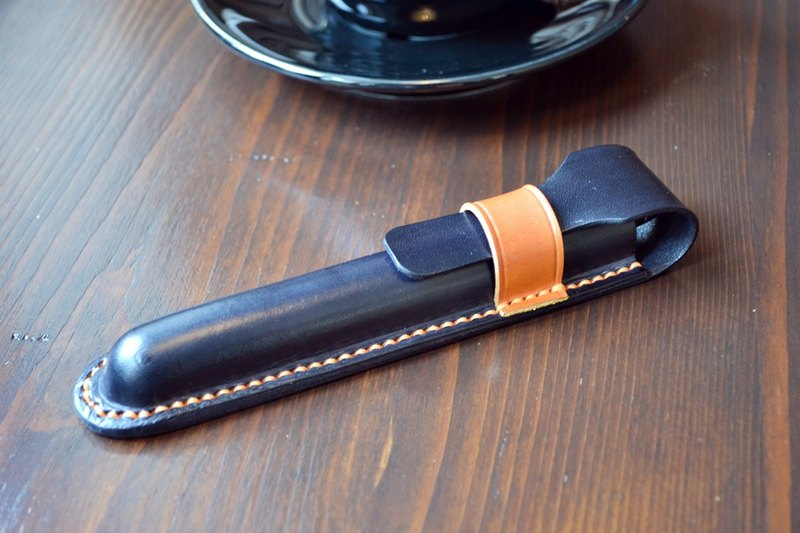 Real leather three-dimensional shaping hand made two-color pen set pen bag / box single stick Montblanc custom
