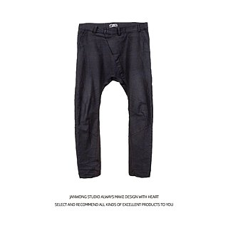 Men's oblique zipper low crotch pants irregular lunches machete design men's leg pants Diablo Japanese style (custom section)
