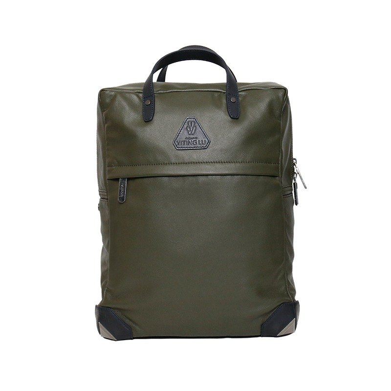 [HANDOS]Herry L. Classic Leather Backpack - Dark Green