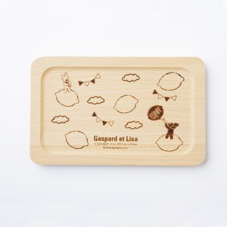 Lisa and Casper wooden square tray - blow horn