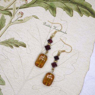 Caramel coffee garnet earrings