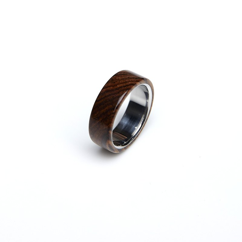 Wide Plane Belize Dalbergia Steel Ring
