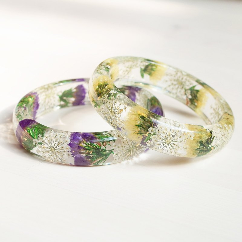 (New ina) Flower said · Original brand / [simple lace series] never change heart · Star flower real flower bracelet X2 / purple and yellow / dry flower immortal flower / bracelet / unique