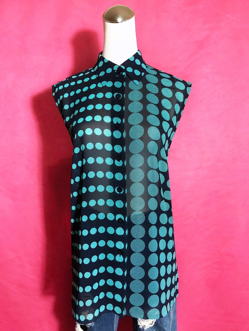 Lake Green Chiffon Sleeveless Vintage Shirt / Bring back VINTAGE abroad