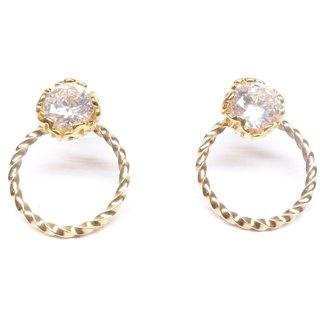 Ershi silver [brass plated 18K gold + personalized plain circle combination zircon earrings] a pair