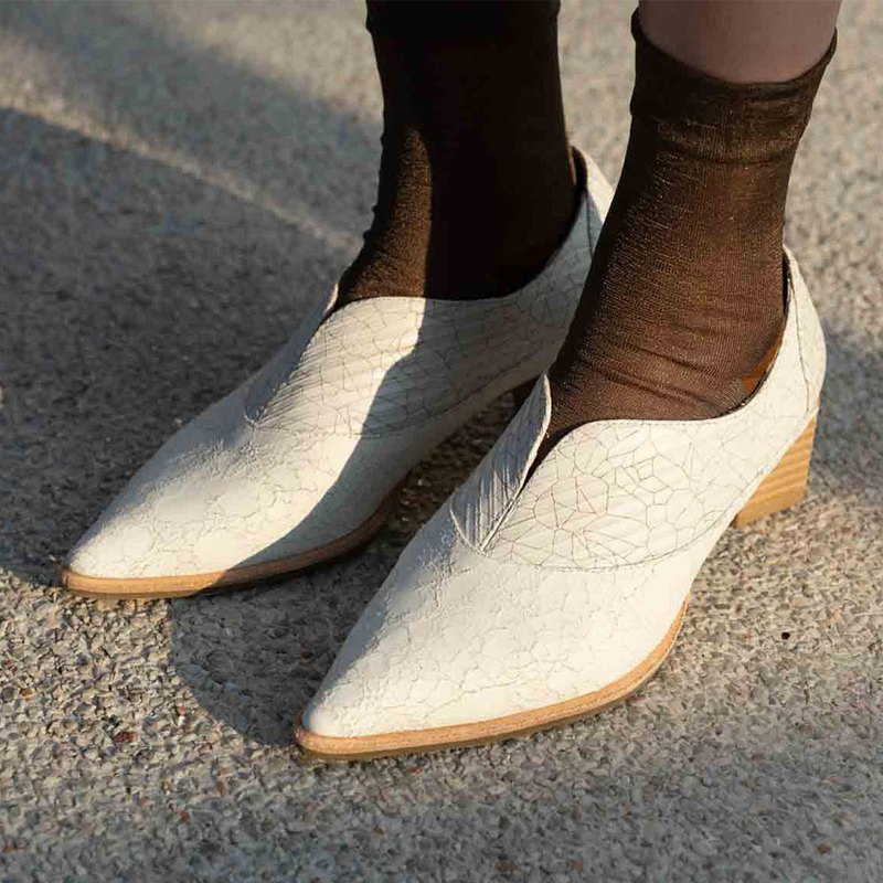 LeatherLab Pointed Colorblock High Heel Loafers