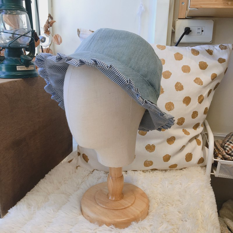 Tannin blue fine double-sided lace fisherman hat