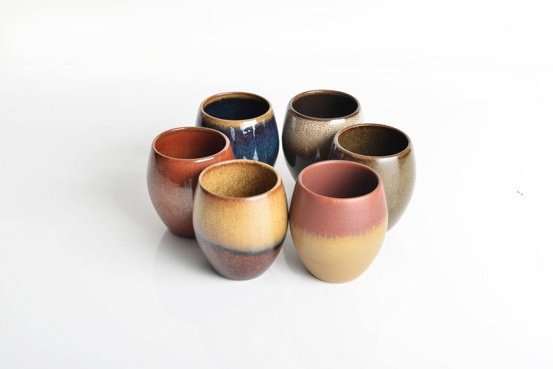 Mino kiln | six-color egg cup group