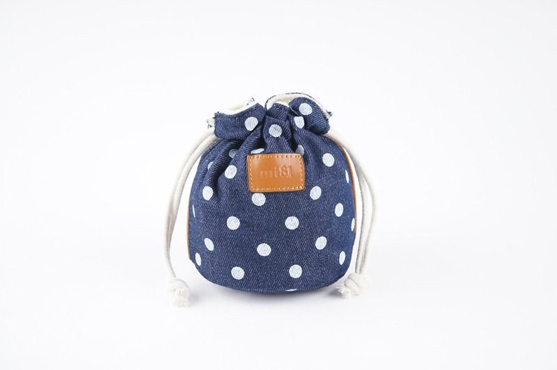 mi81 Cotton Printed camera Pouch (S) Denim Dot
