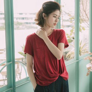 Twisted Organic Cotton Short Sleeve Top - Blush Red