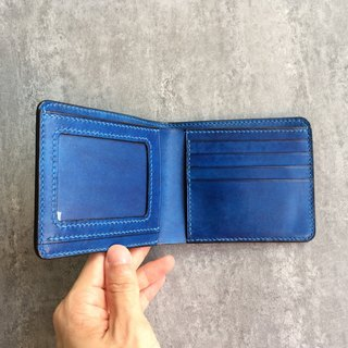 Handmade blue leather twisted short wallet / wallet / short clip
