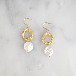 Natural stone ring earrings or earrings [Pearl]