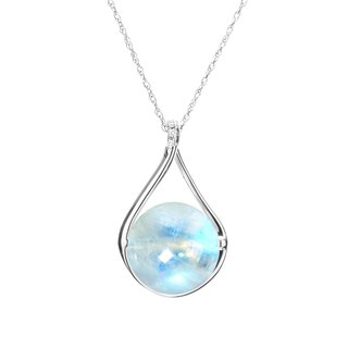 Blue Moonstone Necklace, Rainbow Moonstone and Diamond Jewelry, June Birthstone
