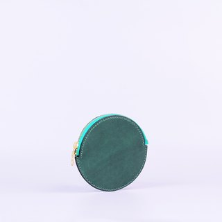 Hand-sewn round zip purse _Green / Round Leather Coin Case_Green