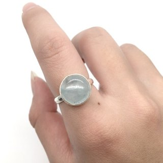 Aquamarine Sapphire Simple Neoprene Ring in Sterling Silver Nepalese Handmade Mosaic (Round Gemstone)