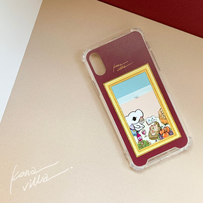 Kona's Pink Beach Picnic Day // Retro Photo Frame Series // Illustrator Anti-collision Phone Case