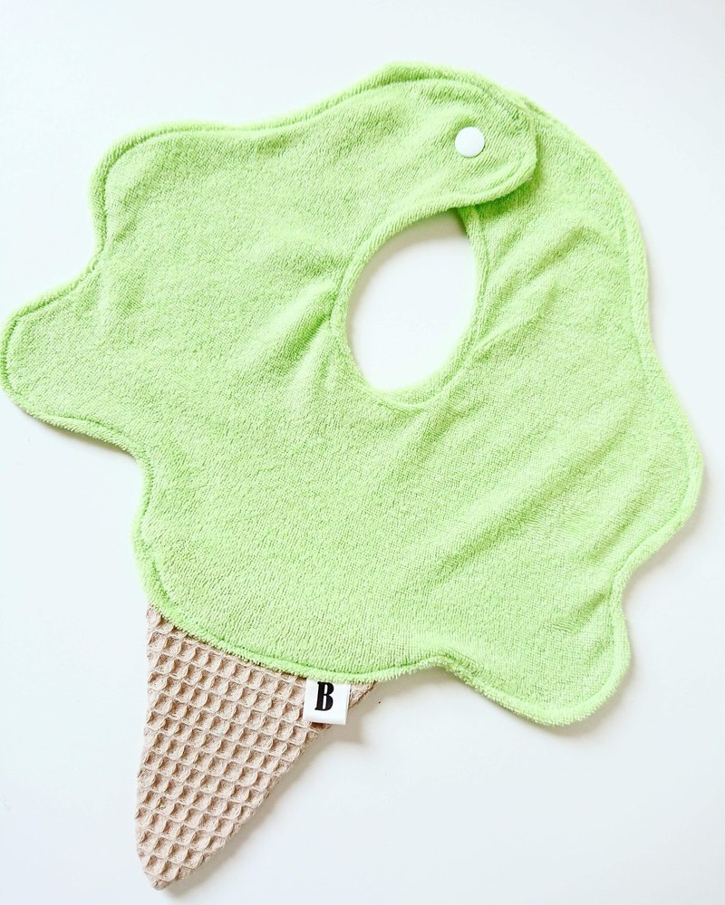Bonbon Baby handmade ice cream bib pocket # Apple Green