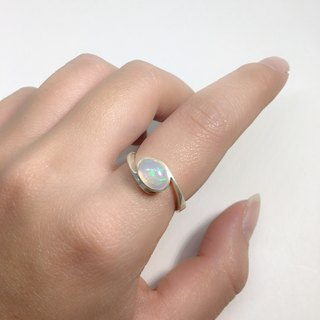 Nepal handmade sterling silver ring opal inlay production curve