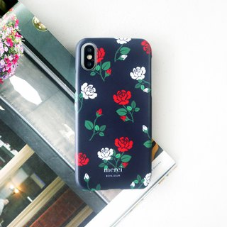 Red and white rose dark blue phone case