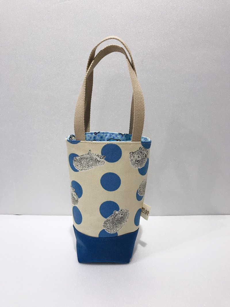 [Bundle tote bag - narrow opening] blue dot and small hedgehog