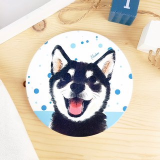 Smile Black Chai - Circular Ceramic Absorbent Coaster / Animal Shiba Inu. Christmas Gifts