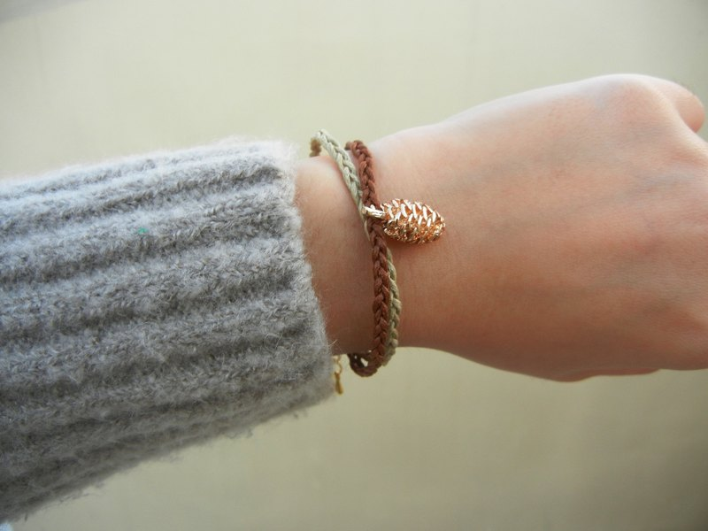 *coucoubird*rose gold pine cone two-color woven bracelet