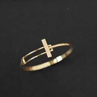 Geometric Rectangle Textured Gold Bracelet (Copper Plated 18K Gold Bracelet) ::C% Handmade Jewelry::
