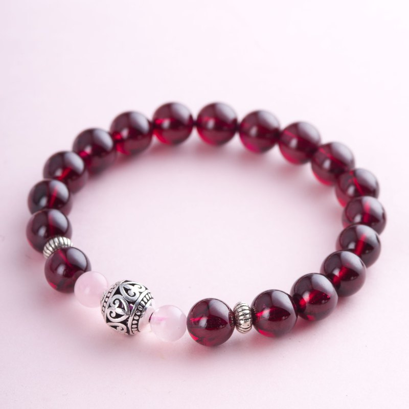 Red Garnet, Rose Quartz, 925 Sterling Silver Natural Gemstone Crystal Bracelet