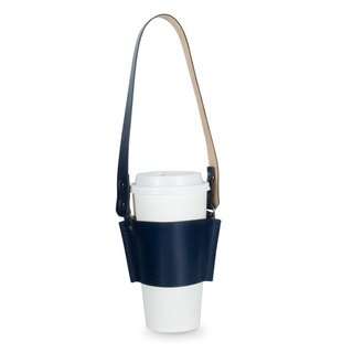 [Leather drink cup bag] (dark blue semi-vegetated yak leather and gun black button) Handmade leather