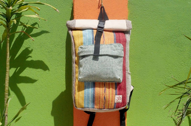Valentine's Day Limit a hand-made cotton and linen stitching design backpack / shoulder bag / national mountaineering bag / puzzle package - Boho hand-woven carpet national totem backpack (red, yellow and blue color)
