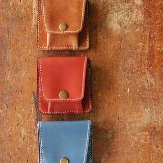Pocket purse / red, blue, brown / lettering