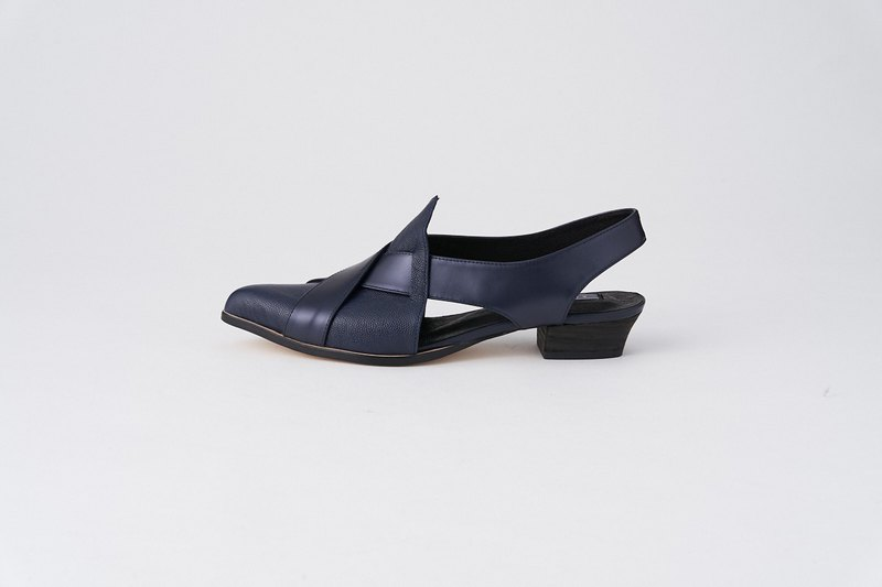 ZOODY / Kite / Handmade Shoes / Flat Pointed Back Sandals / Dark Blue