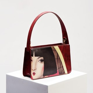 CoinQian beauty red shoulder snakeskin vintage shoulder diagonal handbags
