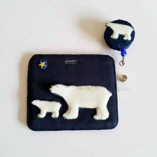 Mini Bear Handmade Polar Bear Multifunctional ((Single Side)) Card Sleeves + Telescopic Pull Ring (Steel Wire) Exclusive