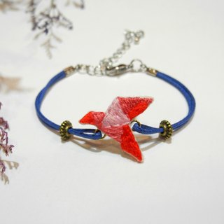 Origami Embroidery Red Gradient Fly Paper Crane Bracelet Hand Embroidery