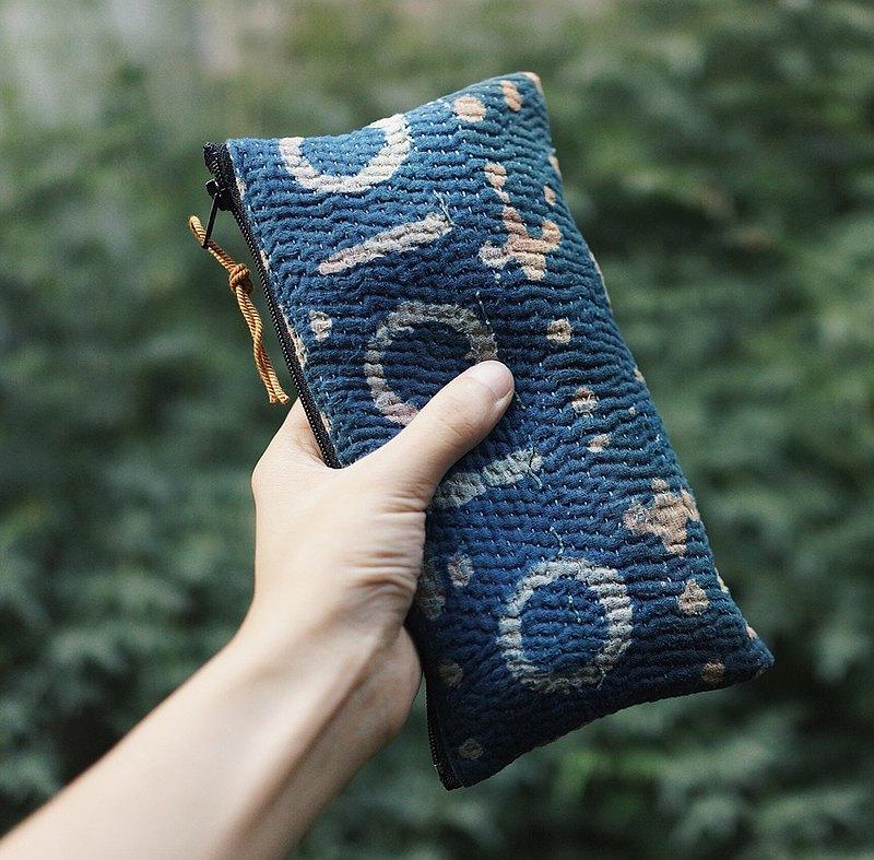 手工刺子繡 拉鏈款文具筆袋 化妝品收納包 棉麻質料雜物包