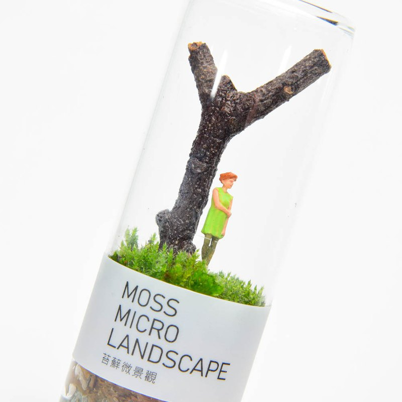 Moss micro landscape-girl under the tree