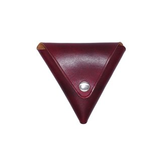 Triangle coin purse / hand dyed / customized / Italian vegetable tanned leather