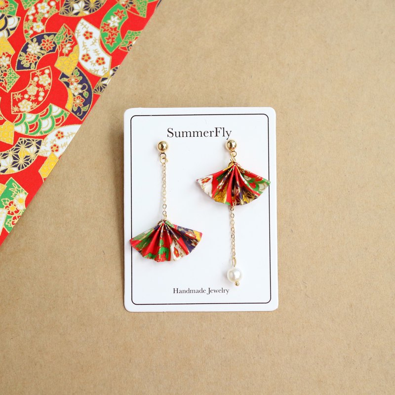 Origami folding fan blessing red romantic Asymmetry long earrings drop earring